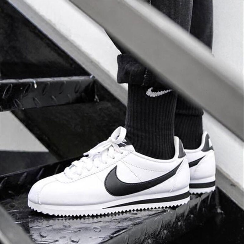 Nike Cortez 經典款 阿甘鞋 白皮面黑鉤 情侶鞋 819719-100