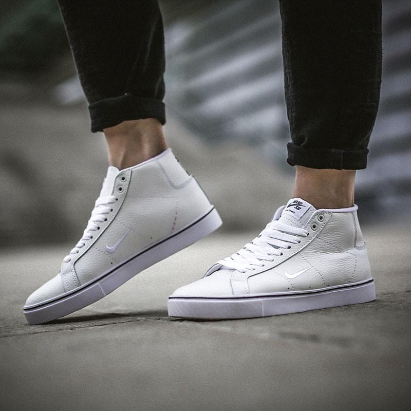 NIKE SB Blazer Zoom Mid QS 皮面 電繡鉤 防滑 休閒 運動 板鞋 917755 白色