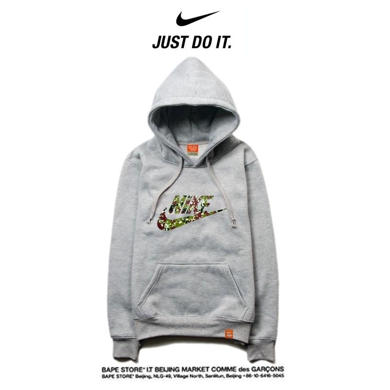 Nike 2018春秋薄款 衛衣 寬鬆 長袖 套頭 情侶款 灰色 碎花字勾