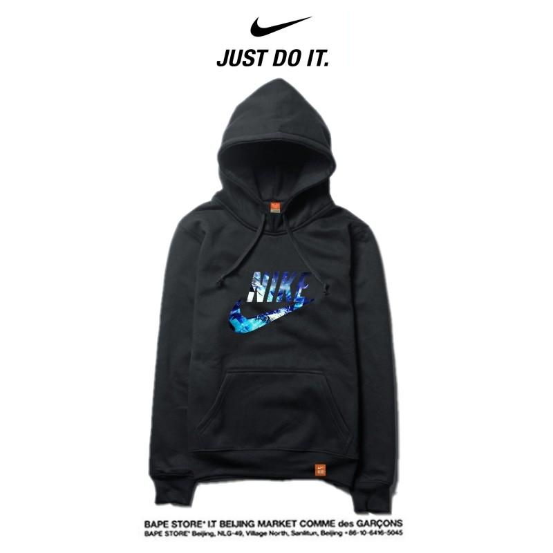 Nike 2018春秋薄款 最夯衛衣 寬鬆 長袖 套頭 情侶款 黑藍