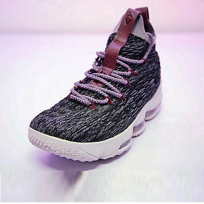 Nike LeBron 15詹姆斯·勒布朗全新戰靴室內針織中筒籃球鞋系列 奧利奧米白紫酒紅 897649-003