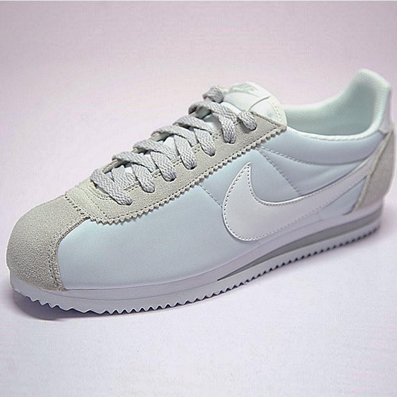 情侶鞋 Nike Classic Cortez 經典復古阿甘百搭慢跑鞋牛津布銀灰白 749864-010