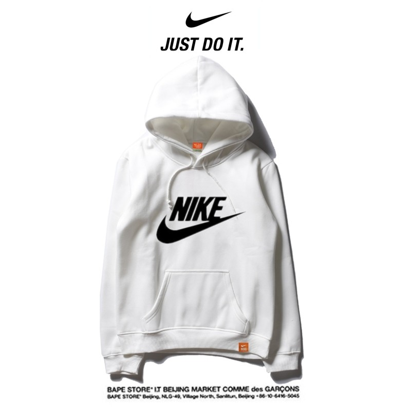 Nike 薄款 經典帽T 寬鬆 長袖 套頭 衛衣 情侶款 白黑