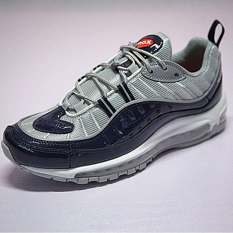 Supreme x NikeLab Air Max 98 復古氣墊百搭慢跑鞋 海軍藍灰 844694-400 男鞋