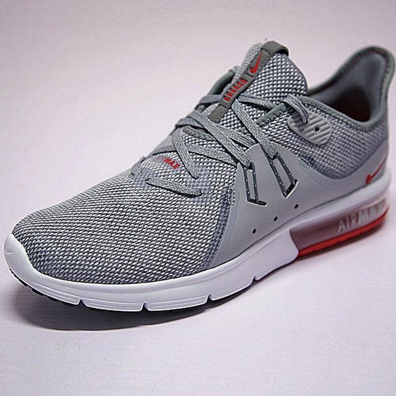 男鞋 Nike Air Max Sequent 3代 後掌 緩震 超軟 氣墊 慢跑鞋 鋼灰大學紅 921694-060