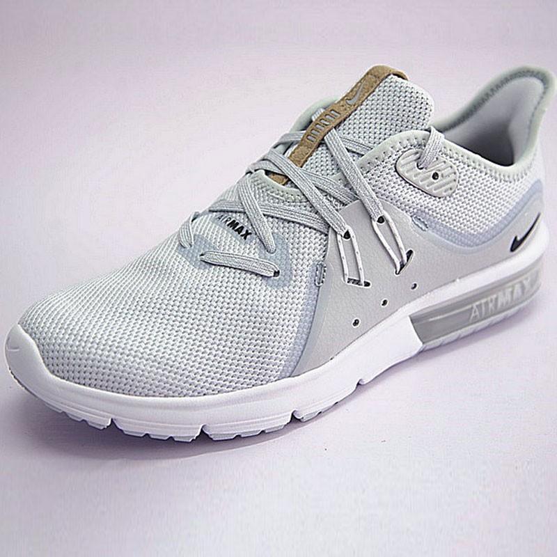 男鞋 Nike Air Max Sequent 3代後掌緩震超軟氣墊慢跑鞋 白水灰棕 921694-008