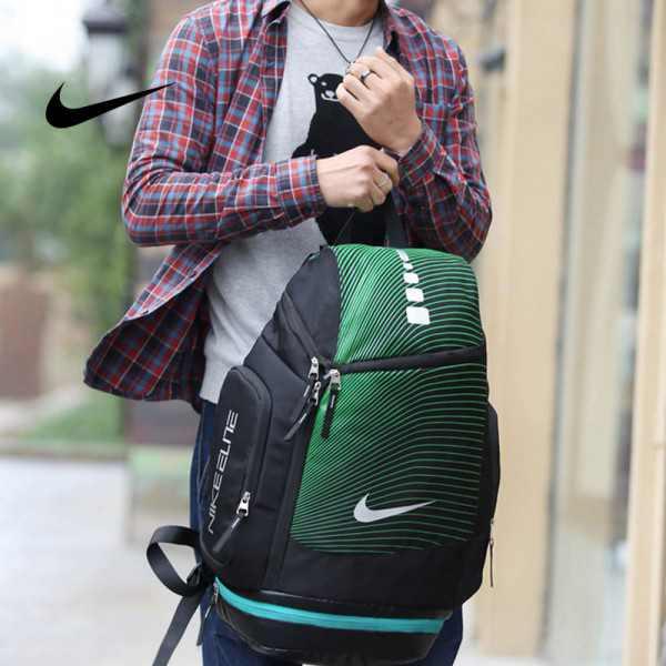 NIKE 情侶款 雙肩包 帆布 後背包 大容量 黑綠 時尚 百搭 厚19*寬30*高52