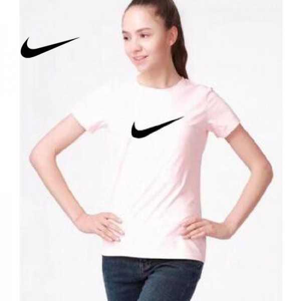 NIKE 夏季新款 基礎 純棉T恤 女款 粉白 簡約 時尚百搭