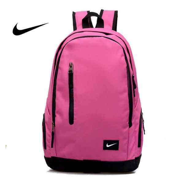 Nike 豎拉鏈款 雙肩包 運動包 旅行包 帆布包 書包 粉色 時尚百搭 寬30*厚16*高47