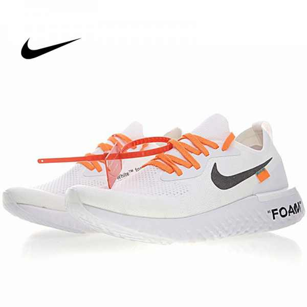 Off white x Nike Epic React Flyknit 飛織 超輕量 回彈 白黑橘 透氣慢跑鞋 情侶款 AQ0070-100
