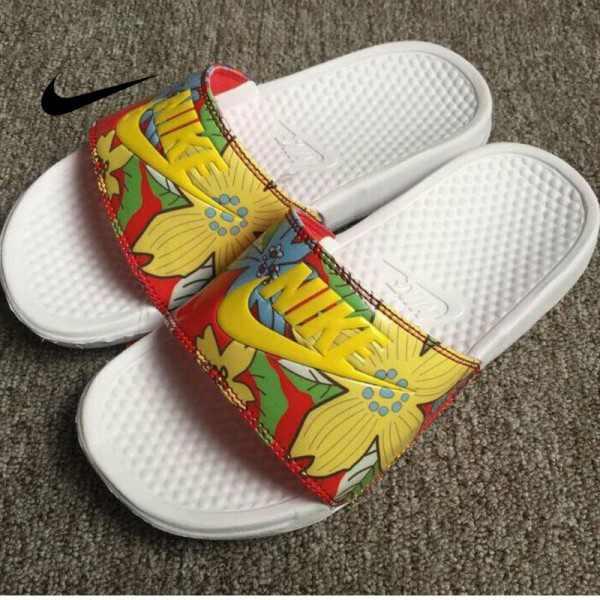 Nike Benassi Print 女神花卉 拖鞋 黃色 印花 防滑 防水 時尚 百搭