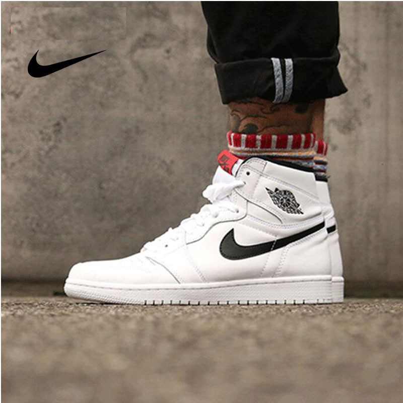 Air Jordan AJ1喬丹1代 籃球鞋 白黑 情侶款 經典 時尚百搭 555088-102