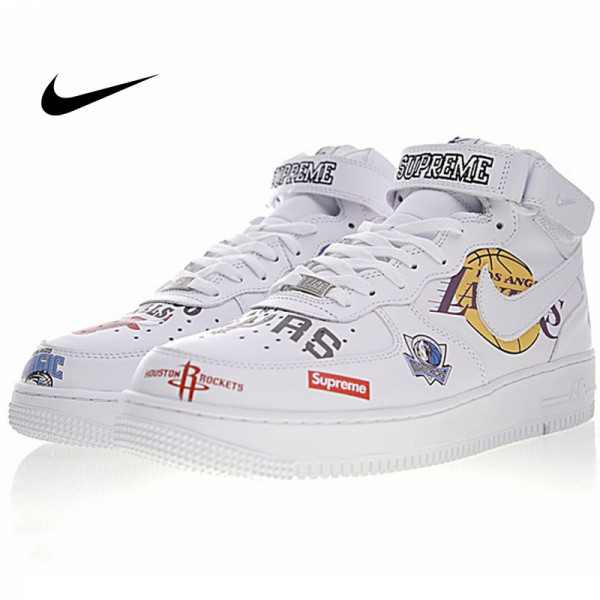 Supreme x NBA x Nike Air Force 1 AF1 NBA LOGO聯名款 白色 高筒 塗鴉 情侶款  AQ8017-100