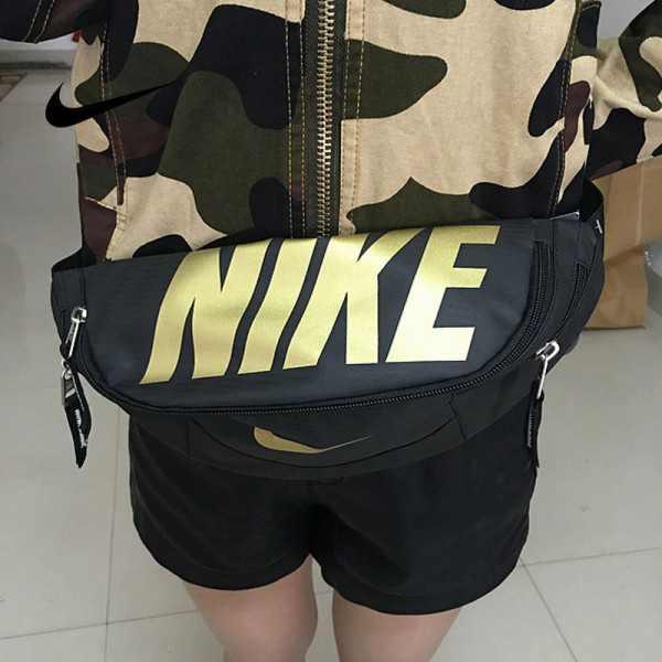 Nike 情侶款 腰包 胸包 騎行單包 斜挎包 零錢包 帆布 黑金 NK-02132