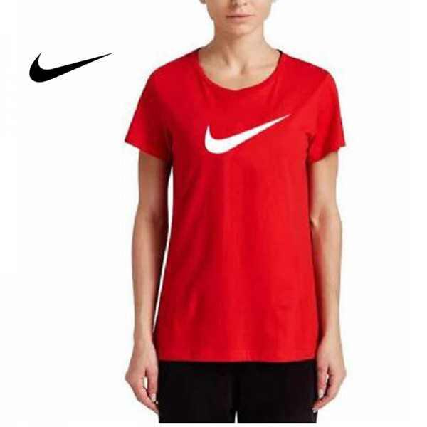 NIKE 夏季新款 基礎 純棉T恤 女生 紅色 白勾 運動 透氣 時尚百搭