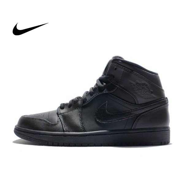 Nike Air Jordan 1 Mid 全黑 高筒 1代 潮流 籃球鞋 男 554724-034 - 耐吉官方網-nike 官網