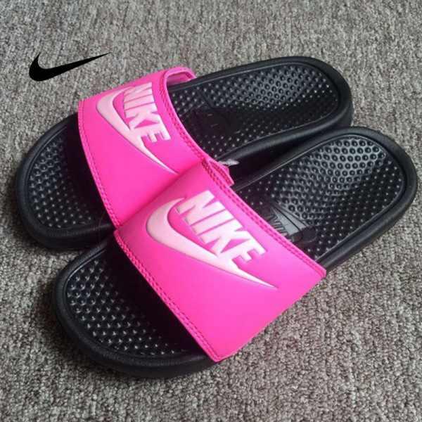 Nike Benassi Print 女神拖鞋 粉黑色 防水 防滑 沙灘拖鞋 休閒 百搭
