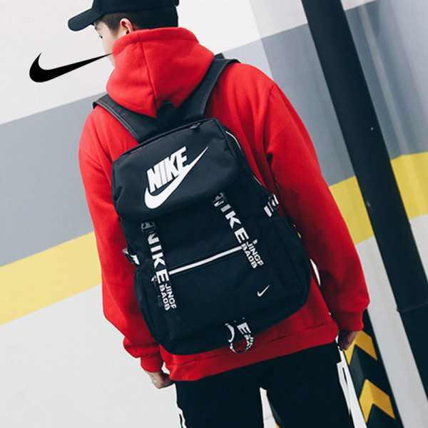 Nike 大logo 新款 雙肩包 後背包 情侶款 學生 書包 黑白  NK-61183