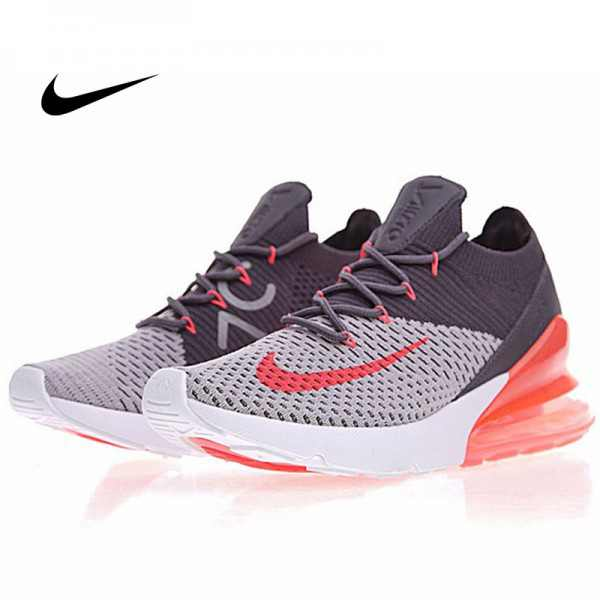Nike Air 270 Flyknit 飛織 氣墊 深灰桔紅 情侶款 慢跑鞋 時尚 百搭 AO1023-202