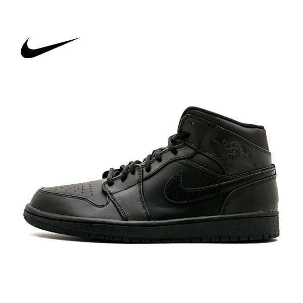 Air Jordan 1 Mid 全黑 男鞋 籃球鞋 高筒 554724 034 - 耐吉官方網-nike 官網