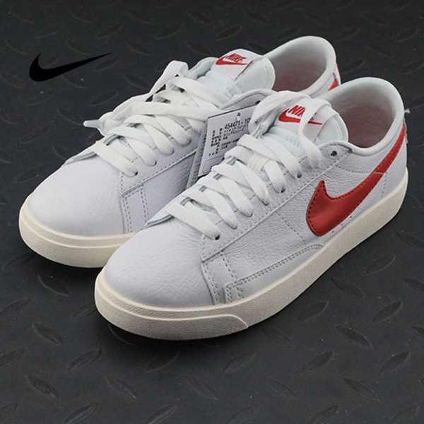 Nike Blazer Low Premium 開拓者 限定 百搭 板鞋 復古白紅 情侶款 454471-105
