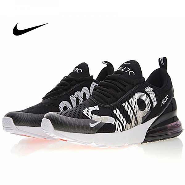 Supreme x Nike Air Max 270系列 後跟半掌氣墊 慢跑鞋 黑白 男款 潮鞋 百搭 AH8050-001