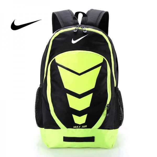 Max Air Nike 雙肩包 學生書包 帆布電腦氣墊後背包 旅行包 黑綠 NK-0431