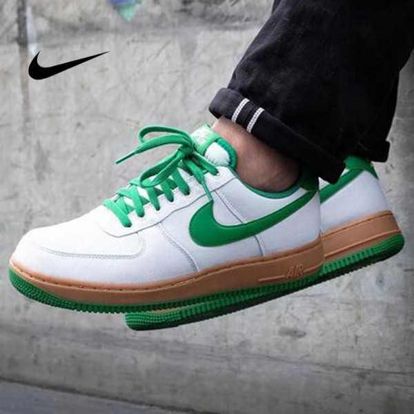 Nike Air Force 1 Low Canvas AF1 白綠棕 情侶款 低筒 休閒運動鞋 時尚 百搭 AJ7282-003