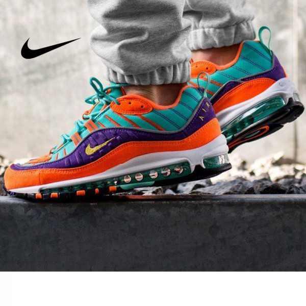 Nike Air Max 98 復古 氣墊 慢跑鞋 橙紫 湖水藍 情侶款 924462-800 1