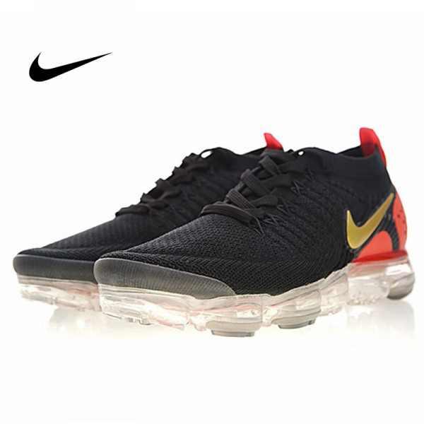 Nike Air VaporMax Flyknit 2.0 W 二代 大氣墊 黑金桔紅 情侶款 休閒 百搭 942843-005