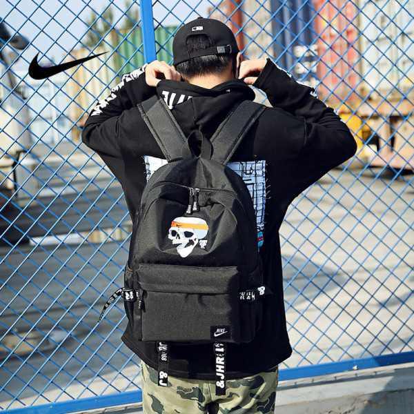 骷髏頭新款 Nike 雙肩包 後背包 時尚 街頭風 運動包 流蘇 黑色