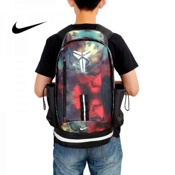 Nike kobe 夜光版 雙肩包 後背包 籃球包 學生書包 帆布 紅色 時尚百搭 寬30*高47*厚22