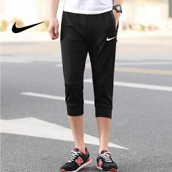 Nike 經典 男款 束口束腳褲 七分褲 運動短褲 休閒褲 黑色 時尚百搭
