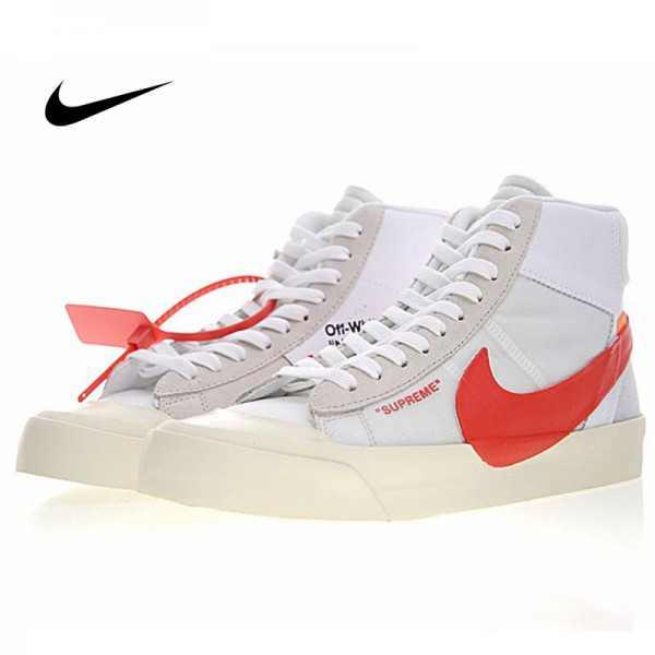Supreme x Nike Blazer Mid 開拓者中筒板鞋 米白紅 情侶款 休閒 百搭 AA3832-006