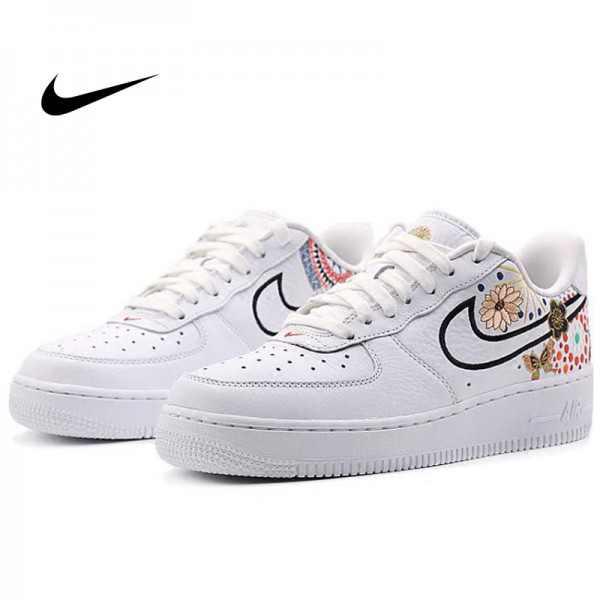 Nike Air Force 1 空軍 板鞋 煙花 牡丹 情侶款 白色 休閒運動鞋 時尚 百搭 AO9381-100