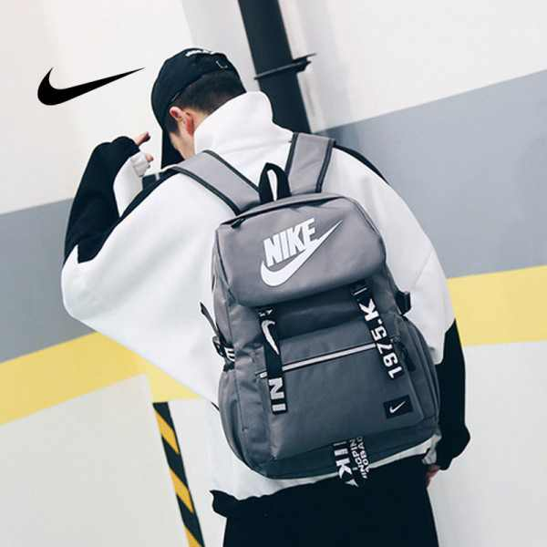 Nike 大logo 新款 雙肩包 後背包 情侶款 學生 書包 灰色 NK-61183