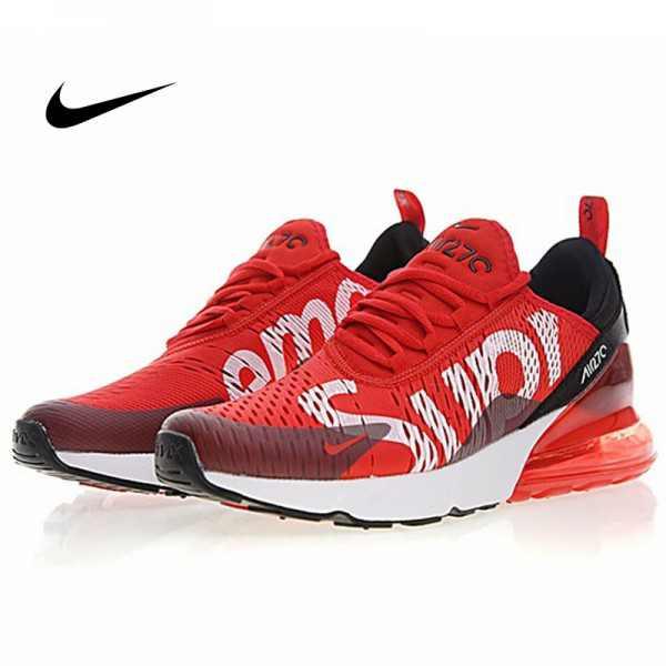 Supreme x Nike Air Max 270聯名系列 後跟半掌氣墊 慢跑鞋 紅白黑 男款 時尚 百搭 AH8050-610