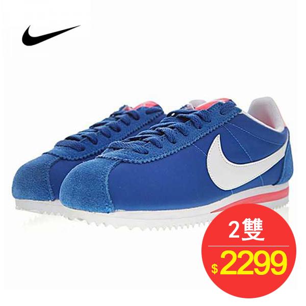Nike Classic Cortez 阿甘 牛津布 藍白 淺粉 女款 運動 休閒時尚 749864-400