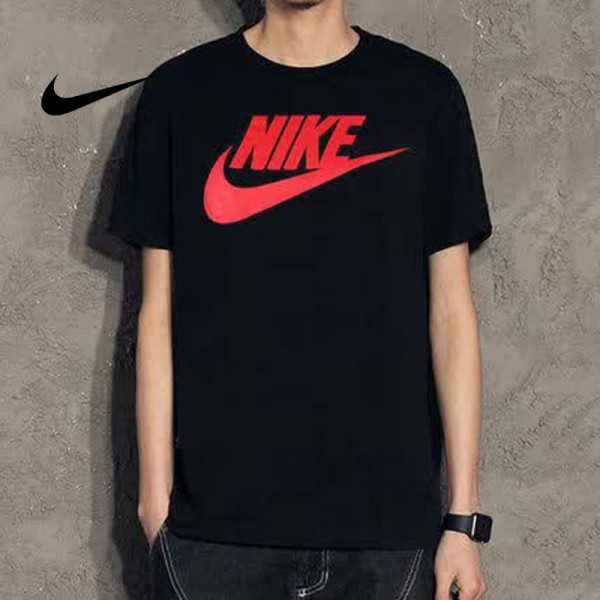 Nike 戶外 運動 圓領 棉 男款T恤 籃球衫 透氣 吸汗 短袖 黑紅 696708