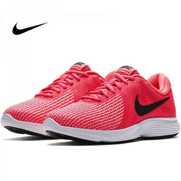 Nike revolution 4女鞋 防滑 耐磨 跑步鞋 粉白色 時尚 白帶 908999-601