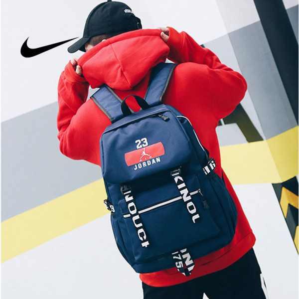NIKE 流蘇款23號 Jordan 時尚後背包 大容量雙肩包 學生書包 旅行包 街頭潮流包 運動包 深藍