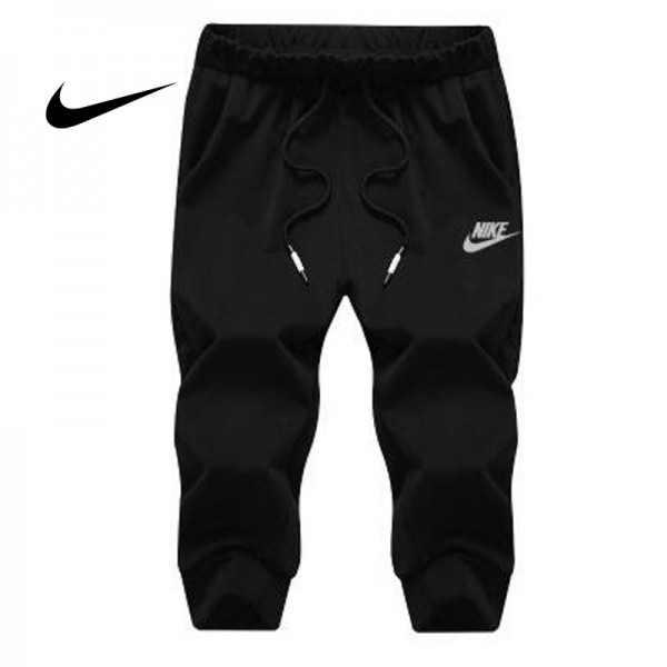 Nike 經典 男款 束口束腳褲 七分褲 運動短褲 黑色