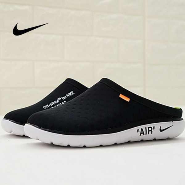 Offwhite x Nike Air rejuvens3代鳥巢拖鞋 黑色 男款 防滑 時尚 百搭 441377-001