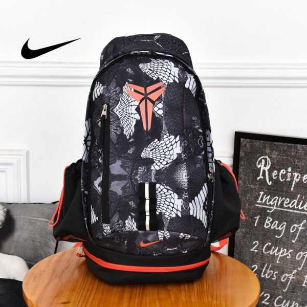 Nike Kobe 籃球包 大容量 雙肩包 旅行包 學生書包 鞋袋包 蛇紋 黑灰 49*27*19