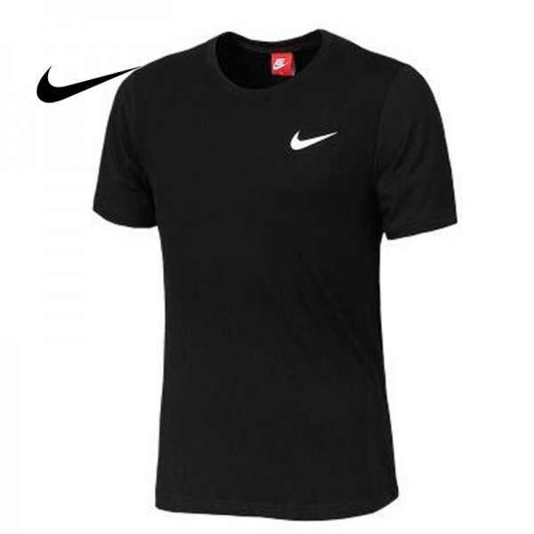 NIKE 夏季新款 基礎 純棉T恤 男款 黑色 白勾 運動 吸汗 透氣 百搭