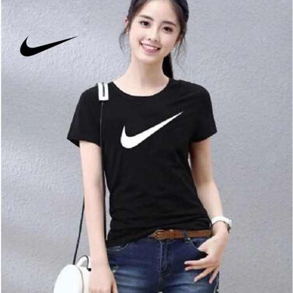 NIKE 夏季新款 基礎 純棉T恤 女生 黑色 白勾 簡約 時尚百搭