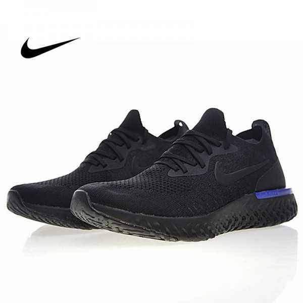 Nike Epic React Flyknit 泡棉顆粒 針織 超輕量慢跑鞋 全黑藍 情侶款 AQ0067-004