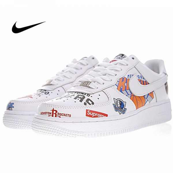 Supreme x NBA x Nike Air Force 1 AF1 NBA LOGO聯名款 塗鴉 低筒 休閒鞋 時尚 百搭 AQ8017-300