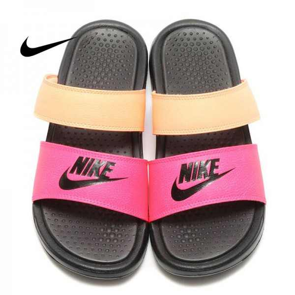NIKE新款BENASSI 雙帶拖鞋 女款 粉橙 防滑防水 時尚 百搭 819717-602