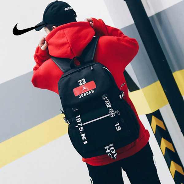 NIKE 流蘇款23號 Jordan 時尚后後背包 大容量雙肩包 學生書包 旅行包 街頭潮流包 運動包 黑色